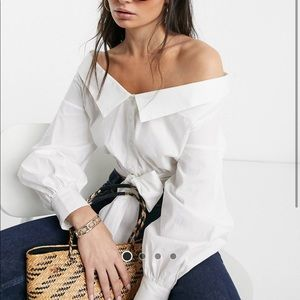 Alice Olivia Style White OffShoulder Tie Front Top